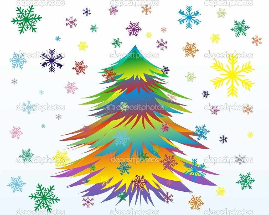 Vector Colorful Christmas or New Year tree with snowflakes  — Stock Vector #4208428