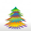 Vector Colorful Christmas or New Year tree with snowflakes - Imagen vectorial