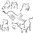 Stock Vector: Set of silhouettes of cats