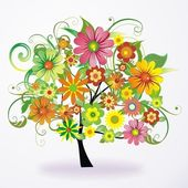 Vector abstract colorful tree from flowers — Stock Vector