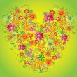 Heart from flowers with butterflies — Stock Vector