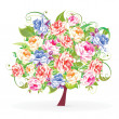 Stock Vector: Colorful tree from flowers
