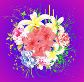 Colorful floral background with flowers — Stock Vector