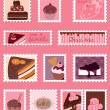 Sweet Postage Stamps vector Set — Vettoriali Stock