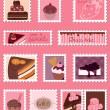 Sweet Postage Stamps vector Set — Stock Vector