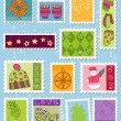 Winter Christmas Postage Stamps — Stock Vector