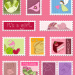 Baby Girl Postage Stamps — Stock Vector