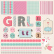 Stok Vektör: Scrapbook Baby Girl Set