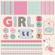 Scrapbook bébé fille ensemble — Vecteur
