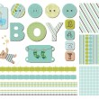 Baby Boy Scrapbook Design Elements — Stok Vektör