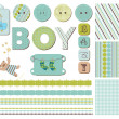 Stock Vector: Baby Boy Scrapbook Design Elements