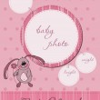 Pink Baby announcement card with Frame — Stock Vector #4852224