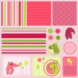 Design elements for baby scrapbook - Stock Vector