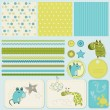 Design elements for baby scrapbook — Vector de stock #4852370