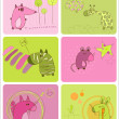 Stock Vector: Cute Baby Animals Set of Cards