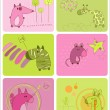 Cute Baby Animals Set of Cards — Stock Vector