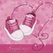 Royalty-Free Stock Immagine Vettoriale: Baby Girl Shoes Arrival Card
