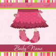 Pink Baby girl arrival announcement card — Stock Vector