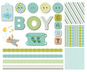 Baby Boy Scrapbook Design Elements — Stock Vector