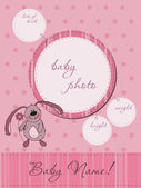 Pink Baby announcement card with Frame — Stock Vector