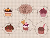 Set of Cup Cakes on vintage background — Stock Vector