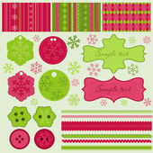Christmas elements and patterns, vector — Stock Vector