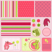 Design elements for baby scrapbook — Stock Vector