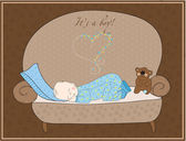 Newborn Baby Boy Sleeping Card — Stock Vector