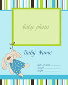 Baby Boy Arrival Card with Frame — Stock Vector