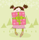 Girl with Present Chrismas Card — Stock Vector