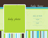 Baby Arrival Card with Photo Frames — Stock Vector