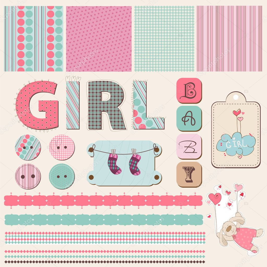 Baby Girl Scrapbook Backgrounds Scrapbook Baby Girl Set