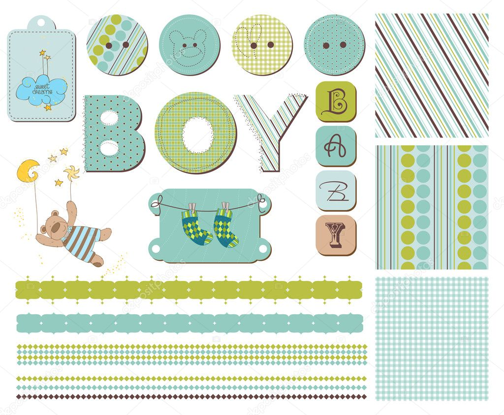 Baby Boy Scrapbook Design Elements — Imagen vectorial #4852126