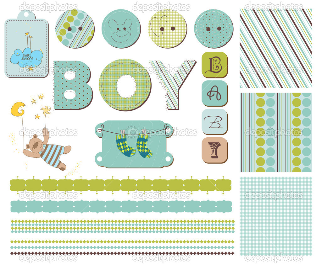 Baby Boy Scrapbook Design Elements  Vettoriali Stock  #4852126