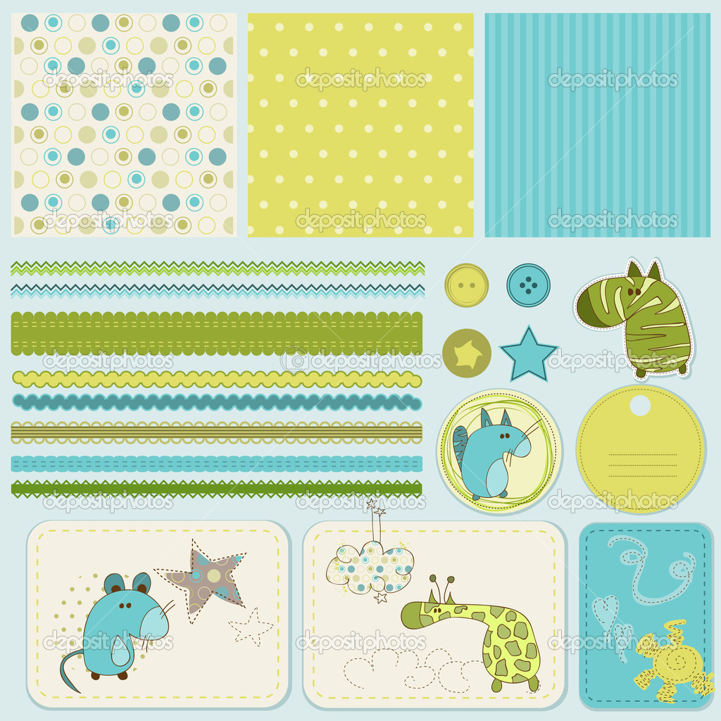 Design elements for baby scrapbook  — Stock Vector #4852370