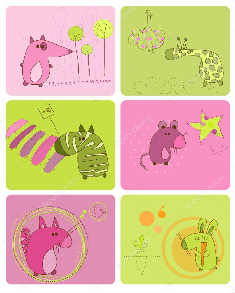 Cute Baby Animals Set of Cards — Imagen vectorial #4852375