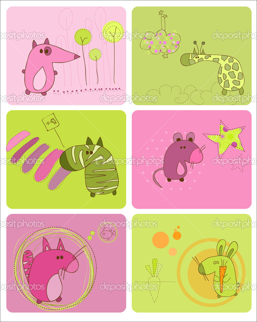 Cute Baby Animals Set of Cards — Image vectorielle #4852375