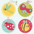 Design elements for baby scrapbook in vector - Stock Vector