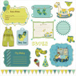 Royalty-Free Stock Векторное изображение: Design elements for baby scrapbook in vector