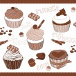 Royalty-Free Stock Imagen vectorial: Set of Cute Cupcakes for design in vector