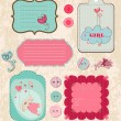 Design elements for baby scrapbook in vector — Stockvektor