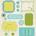 Design elements for baby scrapbook in vector — Stock Vector