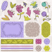 Scrapbook Flower Set in vector — Stockvektor