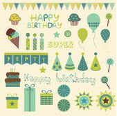 Retro Birthday Celebration Elements in vector — Stock Vector