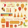 Royalty-Free Stock Vektorfiler: Retro Birthday Celebration Design Elements