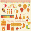 Retro Birthday Celebration Design Elements — Imagens vectoriais em stock