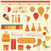 Retro Birthday Celebration Design Elements — Stock Vector