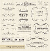 Vector vintage set: calligraphic design elements and page decora — Stok Vektör