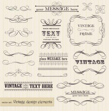 Vector vintage set: calligraphic design elements and page decora