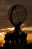 The North Cape Globe at midnight #2 — 图库照片